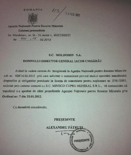 ANRM a comunicat transferul licenței în februarie 2012 lui Iacob Chișărău, directorul Moldomin, condamnat defintiv la 3 ani de închisoare pentru rolul său în afacerea de corupție