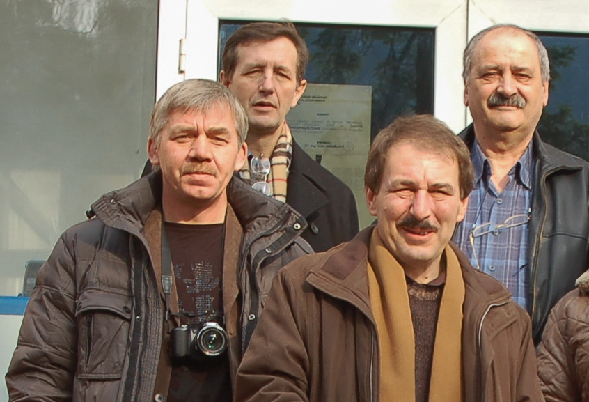 Russian experts on their first visit to Moldova Noua (December 2011): Mikhail Orlov (left front), Iurii Nazarov, RIVS expert(left back), Iacob Chișărău, director Moldomin (right back), Adrian Dan Rus, representative of Mineco Romania (right front)