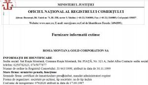 Registrul Comerțului menționează că RMGC este urmărită penal