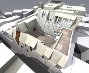 Complexul de clădiri ridicat la Șelari nr. 4 – Smârdan nr. 33 – Smârdan nr. 27, într-o simulare 3D, publicată pe pagina web a firmei de arhitectură care l-a proiectat. Sursa:urbanoffice.ro