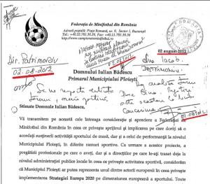 Facsimil al scrisorii pe care Răzvan Burleanu i-a trimis-o lui Iulian Bădescu în ziua aceea de hiperactivitate administrativă, 2 august 2012