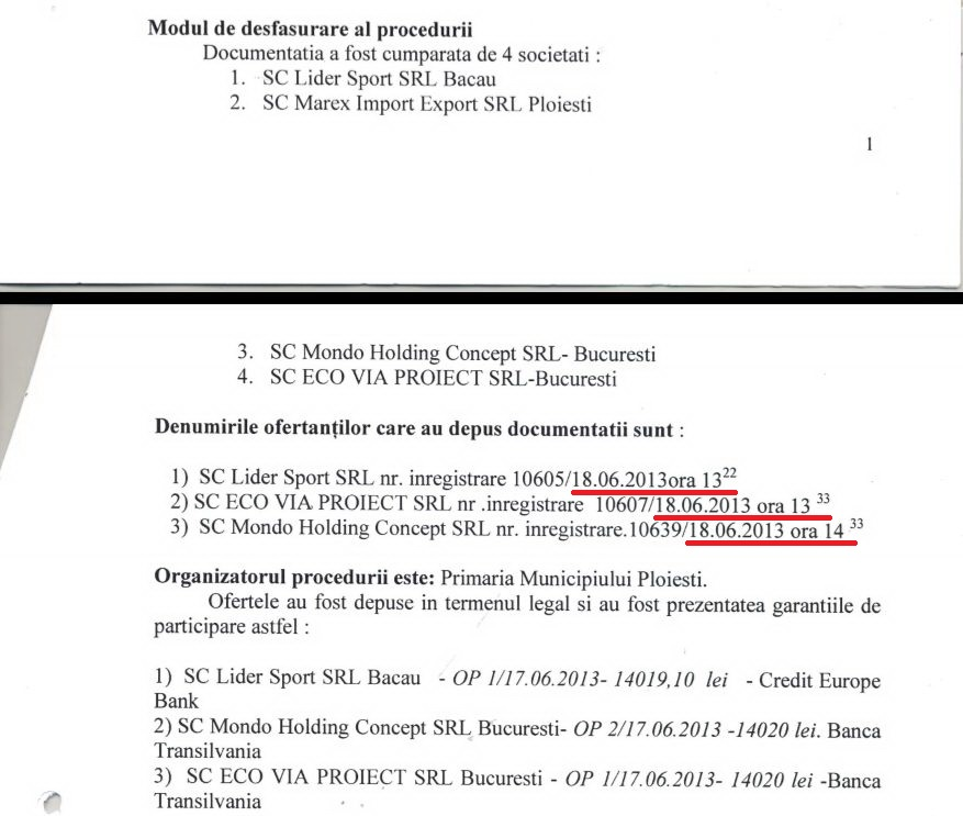 Toate trei firmele care s-au înscris la licitația din Ploiești au depus ofertele în aceeași zi și aproape la aceeași oră