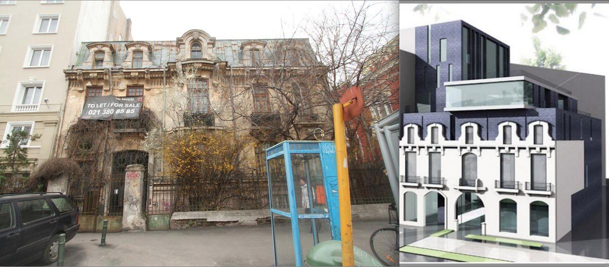 Vila de pe Bulevardul Lascăr Catargiu, metamorfozată în bloc de talentatul arhitect Lilian Captari. Sursa: urbanoffice.ro