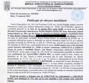 Anunțul publicat de un executor judecătoresc, în ianuarie 2013, pentru vânzarea, prin licitației, a vilei lui Gică Popescu din Poiana Brașov