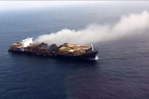 În 2012, nava Flaminia a luat foc în largul oceanului Atlantic sursa: youtube