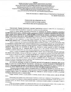 Anunțul de vânzare, prin licitație, a terenului de 500.000 de euro deținut de Romita Imobiliare Invest în comuna Tărtășești