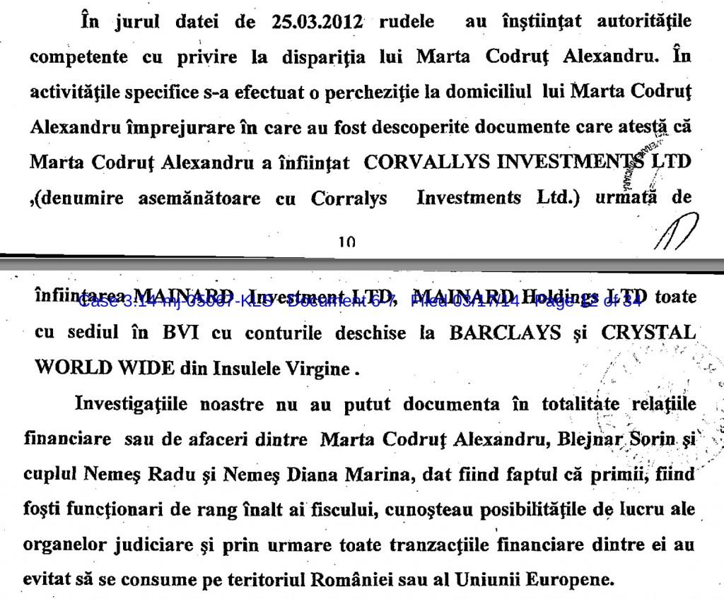 Varianta în română a documentului remis americanilor unde sunt prezentate offshore-urile lui Marta