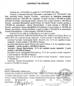Contractul de cesiune semnat de Coriolan Baciu