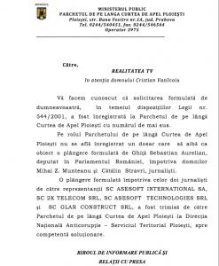 Răspunsul Parchetului de pe lângă Curtea de Apel Prahova