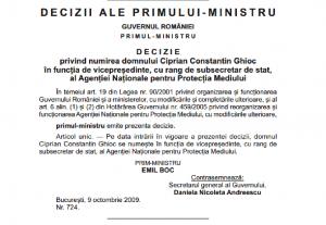 Decizia de numire în funcție a lui Ciprian Ghioc