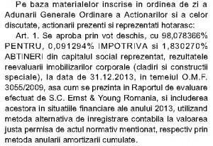 Aprobarea reevaluării din 28 mai 2014 a avut efecte asupra bilanțului pe anul trecut.