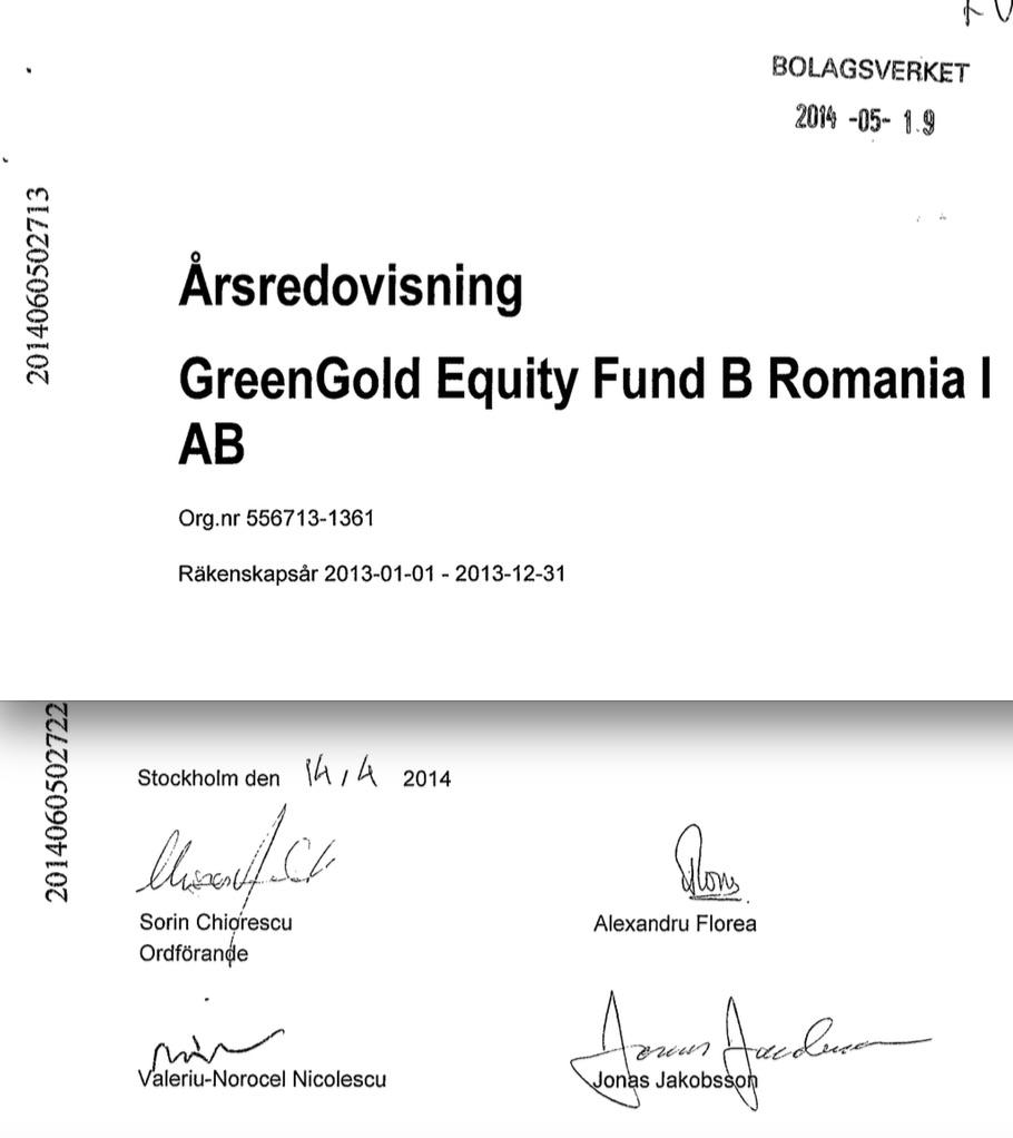 Semnătura profesorului Nicolescu, alături de Florea și Chiorescu pe ultimul raport anual al firmei suedeze.