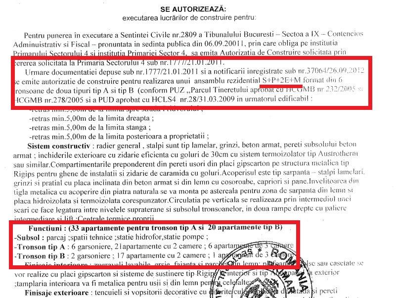 În autorizația de construire eliberată de Popescu Piedone în 2012, sunt prevăzute 159 de apartamente, cu una, două sau trei camere. Iar blocurile au un regim de înălțime de P+2E+M