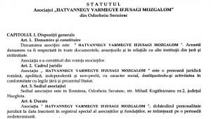 Extras din statutul prin care cei cinci secui au vrut să înființeze asociația HVIM la Odorheiu Secuiesc.