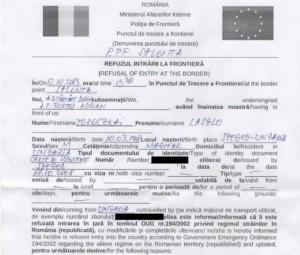 Actul prin care Toroczkai a fost blocat la granița României.
