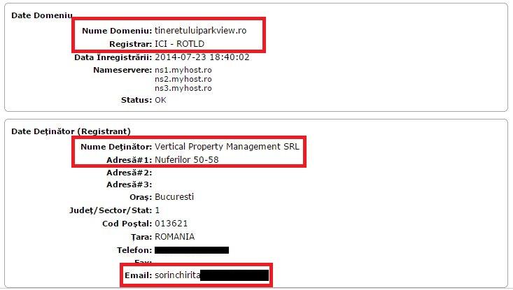 """Sorin Chiriță a rezervat domeniul de internet al """"Tineretului Park View"""" prin intermediul firmei sale  Vertical"""