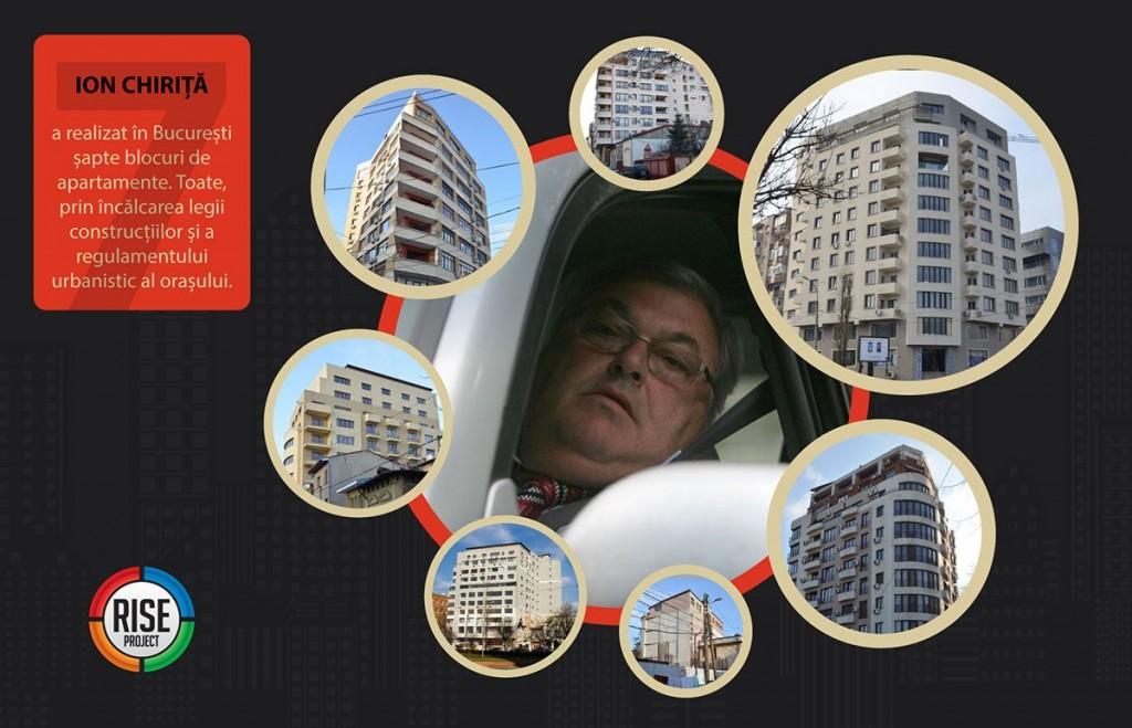Constelația de clădiri ilegale ridicate de Ion Chiriță în ultimul deceniu în București / Infografie de Sergiu Brega