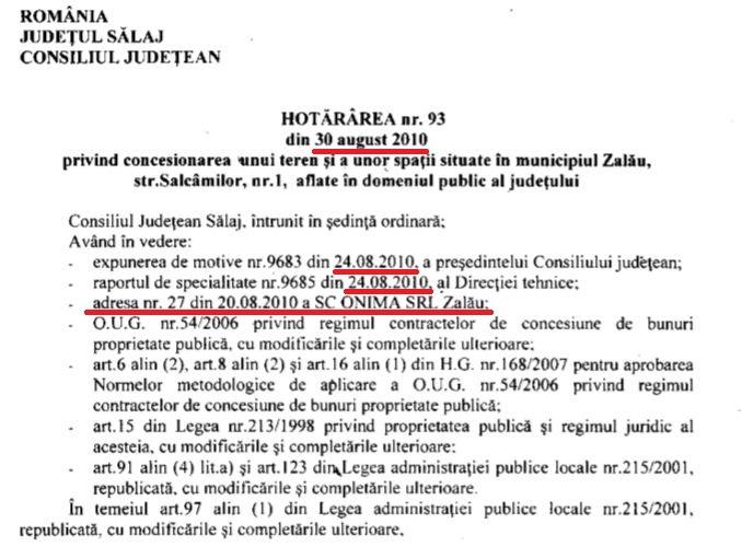 În august 2010, Consiliul Județean Sălaj a scos un teren la licitație, la solicitarea firmei lui Ioan Onicaș. Pașii birocratici ai acestei proceduri s-au desfășurat cu o repeziciune neobișnuită