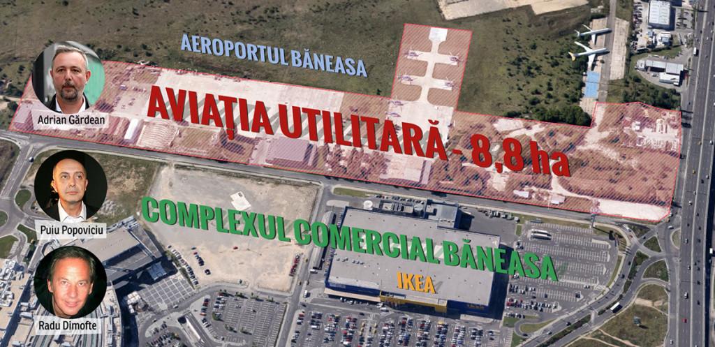 Terenul Aviației Utilitare va permite grupării Popoviciu-Dimofte să își extindă controlul asupra zonei Băneasa. FOTO: Octav Ganea/Mediafax, Silviu Matei/Mediafax. Imagine satelit: Google Maps. INFOGRAFIE: Sergiu Brega.
