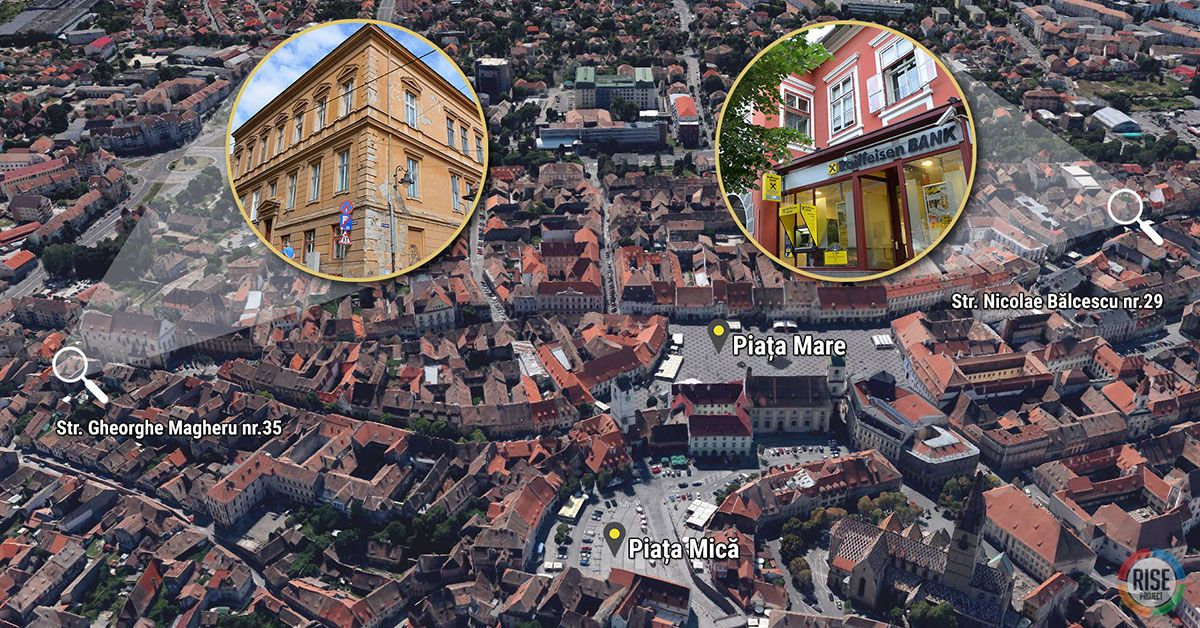 Imobilele retrocedate, în mod ilicit, familiilor Iohannis și Baștea se găsesc în inima Sibiului, foarte aproape de Piața Mare. Clădirea de pe Strada Gheorghe Magheru nr. 35 (foto stânga) este compusă doar din apartamente. Cea de pe Strada Nicolae Bălcescu nr. 29 (foto dreapta) are la parter un spațiu comercial cu deschidere la artera cu cel mai mare dever al orașului.  Închirierea acestui spațiu comercial către Banca Raiffeisen l-a umplut de bani pe Klaus Iohannis. FOTO: Google Earth / INFOGRAFIE: Sergiu Brega