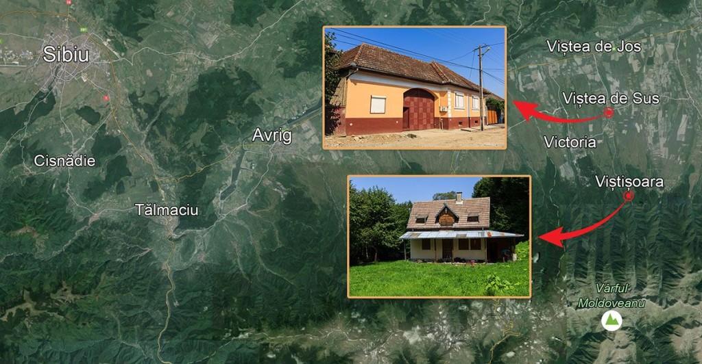 Comuna Viștea este mai aproape de Sibiu decât de Brașov, deși, administrativ, ține de acesta din urmă. În imagine, cele două proprietăți ale familiei Baștea din Viștea. INFOGRAFIE: Sergiu Brega. FOTO: Google Earth, Sergiu Brega.