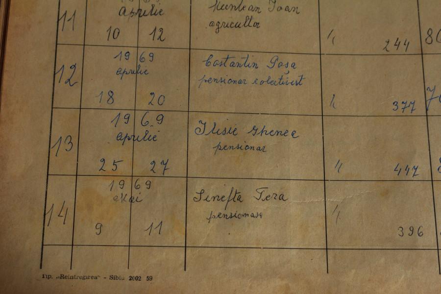 Înhumarea lui Eliseu (Ilisie) Ghenea, petrecută pe 27 aprilie 1969, este consemnată în registrul cimitirului din Porumbacu de Jos. FOTO: Sergiu Brega.