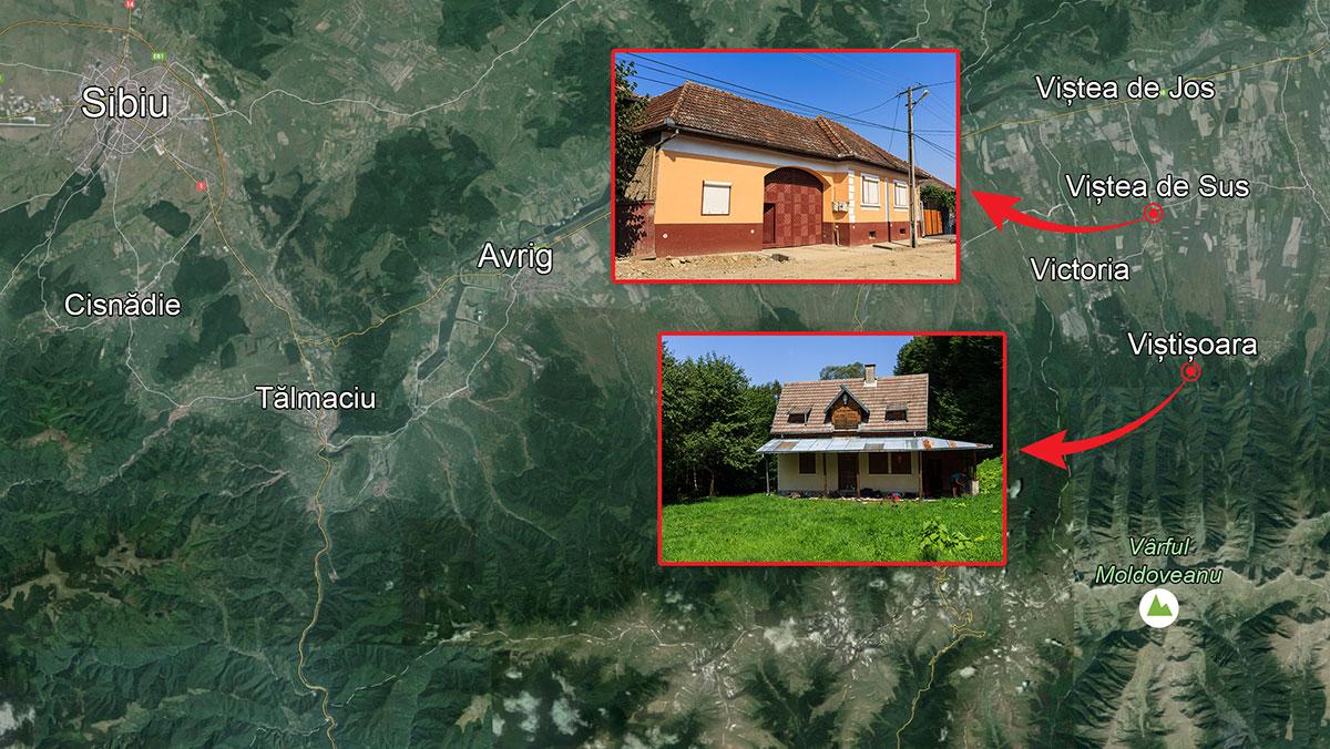 Comuna Viștea este mai aproape de Sibiu decât de Brașov, deși, administrativ, ține de acesta din urmă. În imagine, cele două proprietăți imobiliare ale familiei Baștea din Viștea: o casă bătrânească, în satul Viștea de Sus, și o cabană, în zona turistică Viștișoara. INFOGRAFIE: Sergiu Brega. FOTO: Google Earth, Sergiu Brega.
