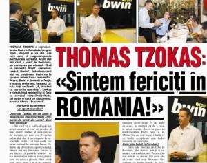 Tzokas și-a publicat pe site-ul propriu articolele din România de pe vremea când era reprezentantul Bwin.