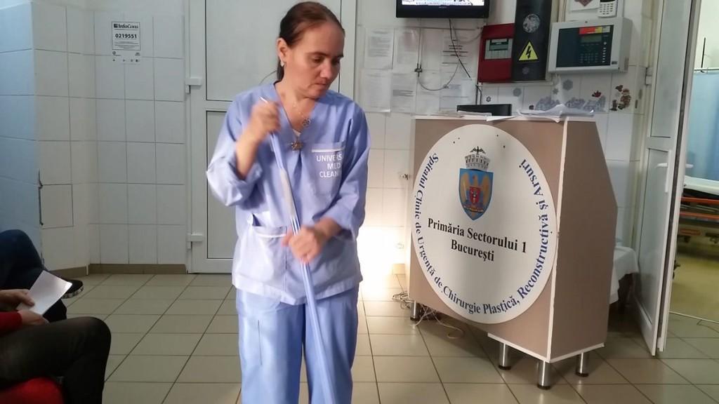 La Spitalul de Arși, UMC face curățenie și astăzi. Captură video: Sergiu Brega.