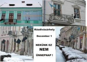 FOTO, steaguri negre, caption - Rezistenta Maghiara din Tg. Secuiesc nu sarbatoreste 1 decembrie