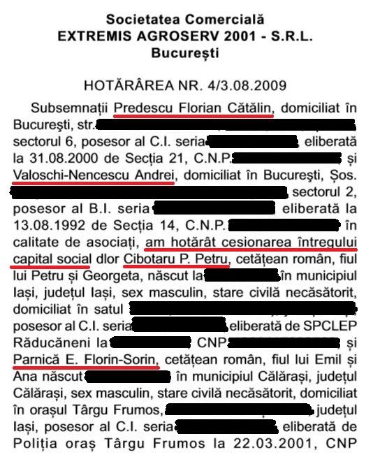 Acesta este mențiunea din Monitorul Oficial referitoare la transferul firmei Extremis Agroserv 2001, de pe numele lui Predescu și Valoschi pe numele unor persoane de condiție foarte modestă, potrivit dezvăluirilor Adevărul. FOTO: Monitorul Oficial.