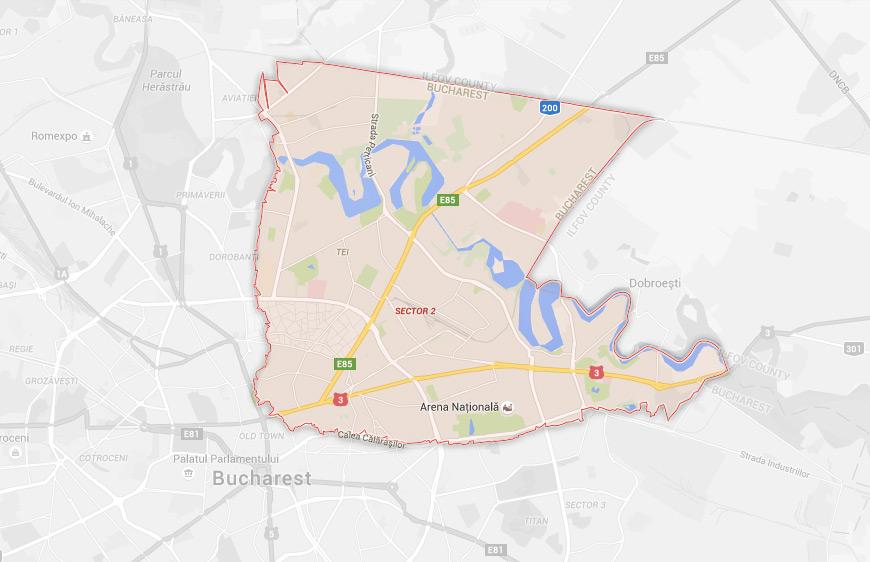 Limitele sectorului 2 din București / Captură Google Maps