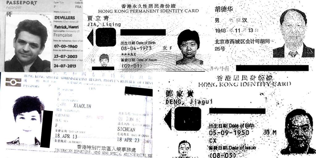 Documente de identitate din PanamaPapers / În ordinea acelor ceasornicului din stânga sus: Patrick Henri Devillers, Jia Liqing, Hu Dehua, Deng Jiagui and Li Xiaolin.