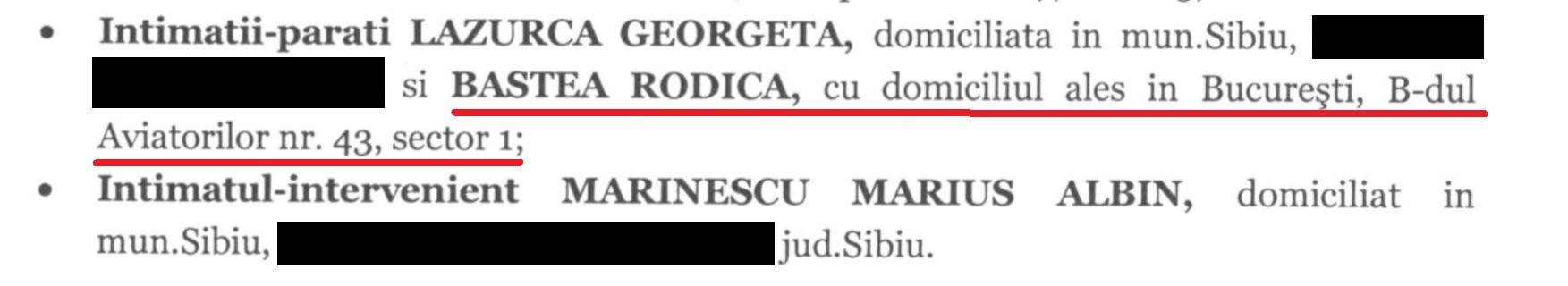 În acțiunea de la Înalta Curte de Casație și Justiție, au scris propria lor adresă, din București, pentru ca citațiile să ajungă fără probleme.