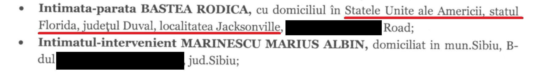 Avocații de la Mușat și Asociații au scris în adresa din America a Rodicăi Baștea în acțiunea depusă la Curtea de Apel Brașov, obligând instanța să poarte o corespondență imposibilă.