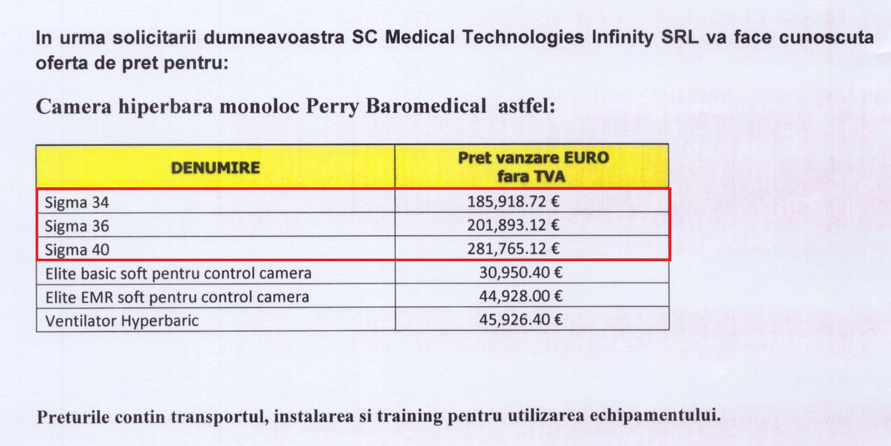 Preturi Perry Baromedical