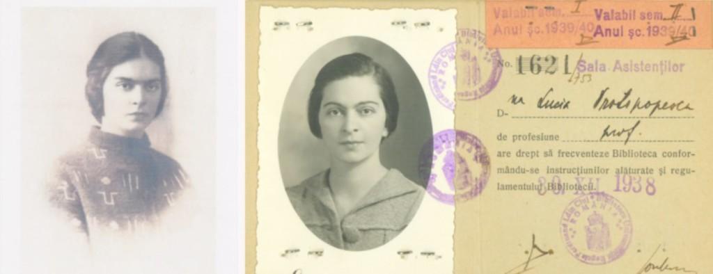 """Lucia Caracostea, căsătorită Protopopescu (1906-1996). Fotografii din tinerețe, publicate în revista """"Memoria Oltului""""."""