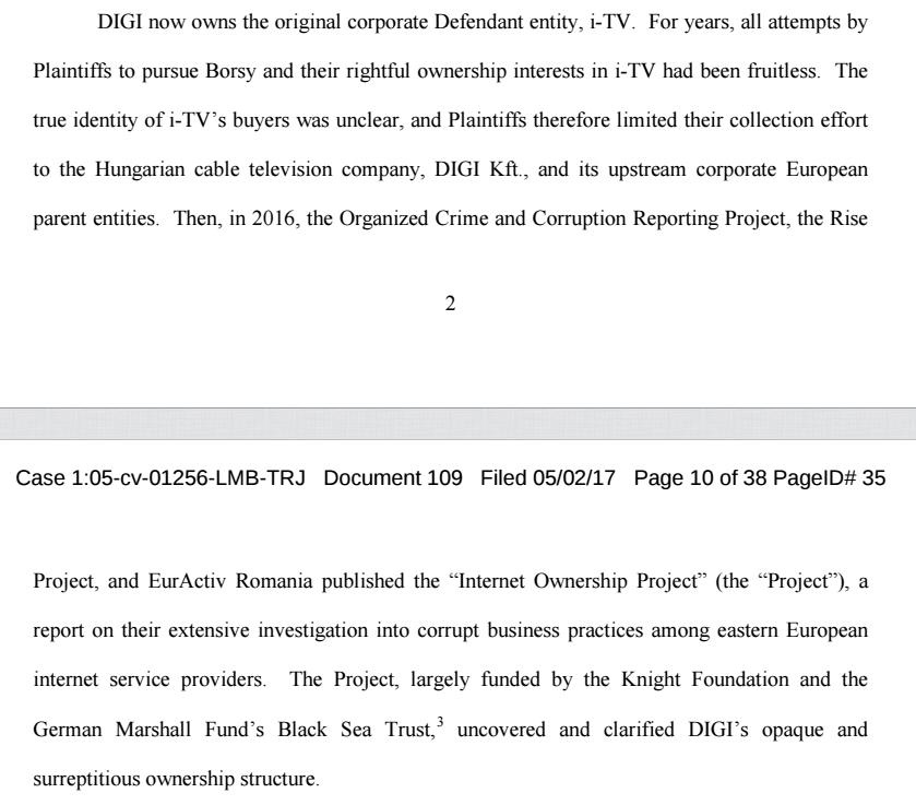 Extras din documentele noului dosar din SUA