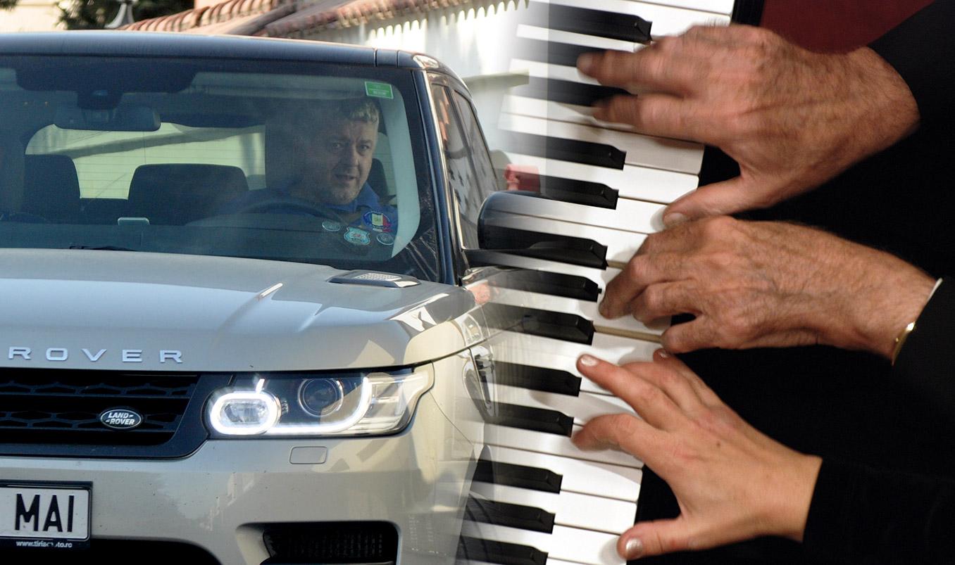 Florin Burhală ieșind din curtea proprietății sale din Pipera. Foto colaj: RISE Project / Mediafax Foto - Radu Tuță