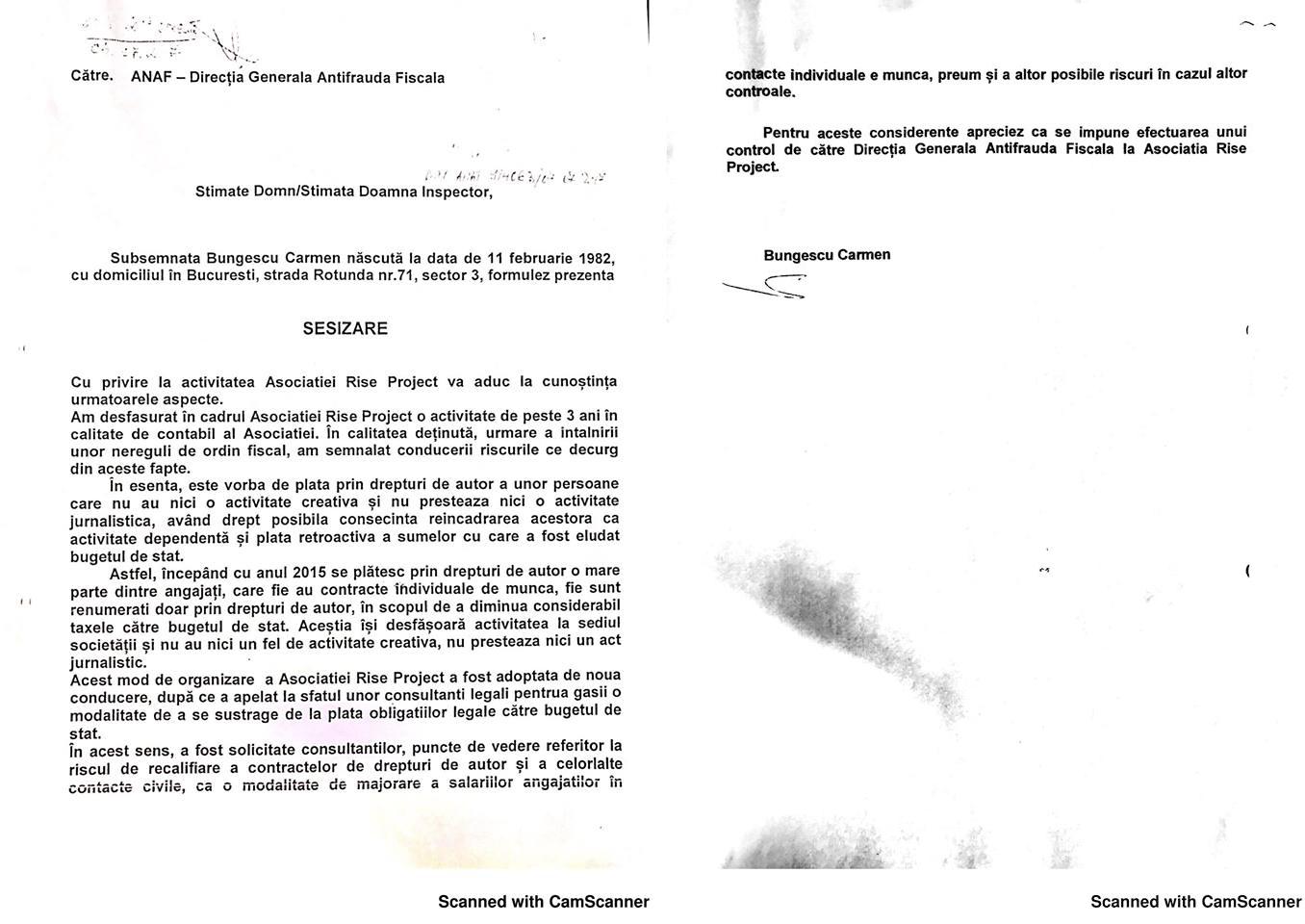 Acesta este denunțul fiscal care a generat controlul ANAF la RISE Project, semnat de o persoană fictivă, potrivit lui Gelu Diaconu, fost șef ANAF