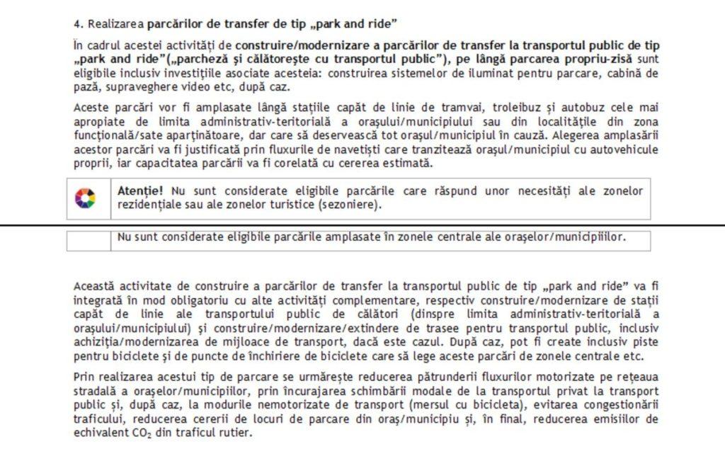 """Interdicția de a construi parcări """"park and ride"""" în centrul orașelor este una programatică, la nivelul Uniunii Europene. Cu toate astea, în România, entitățile locale care administrează banii europeni sunt pe punctul să o încalce. FOTO: Ghidul Solicitantului, POR 2014-2020, Obiectivul specific 3.2, în care se înscriu și parcările """"park and ride""""."""