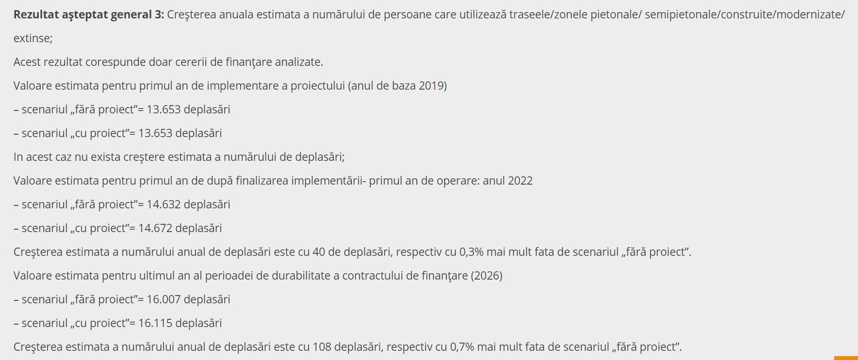 """Potrivit fișei de pe site-ul Primăriei Sinaia, proiectul parcării scontează obținerea a trei rezultate """"benefice""""mediului înconjurător: cele două amintite mai sus (creșterea numărului de pasageri din autobuzele orășenești cu 327/an și creșterea numărului de pietoni de pe străzi cu 108/an) și un al treilea: scăderea emisiilor de CO2 cu 155 de tone/an. E neclar care este corelația dintre primele două și al treilea. În imagine: calculul referitor la """"înmulțirea"""" pietonilor."""
