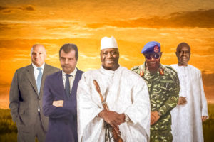 Magnatul Buzăianu în stânga imaginii alături de fostul dictor al Gambiei înconjurat de partenerii de afaceri.