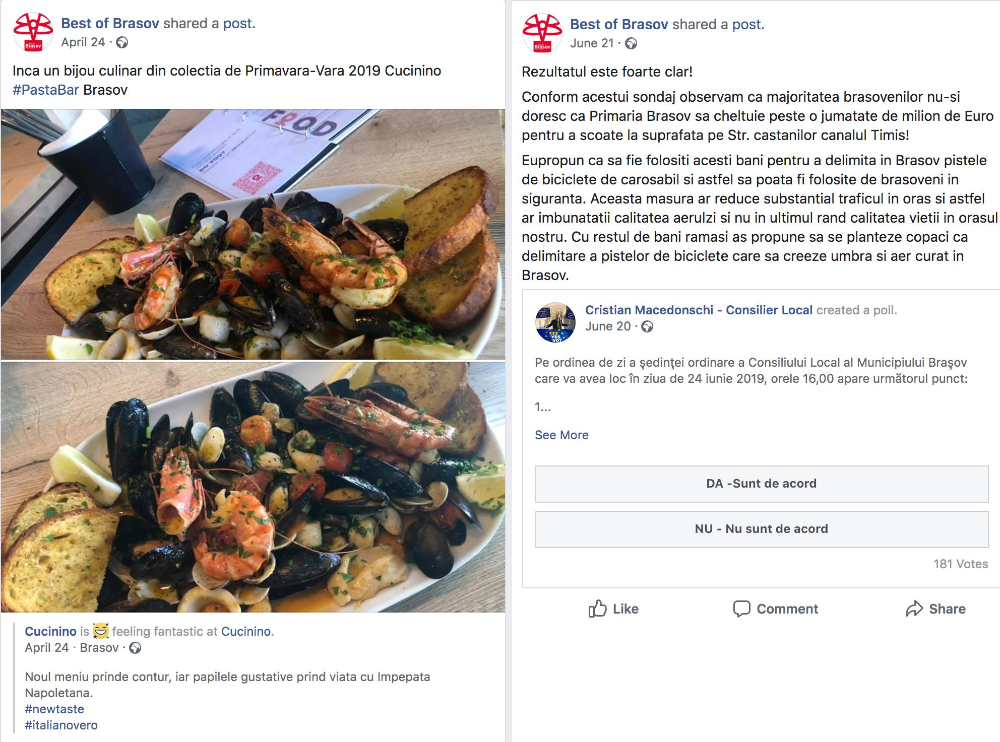 Pagina de Facebook a revistei Best of Brașov promovează restaurantul consilierului local Cristian Macedonschi