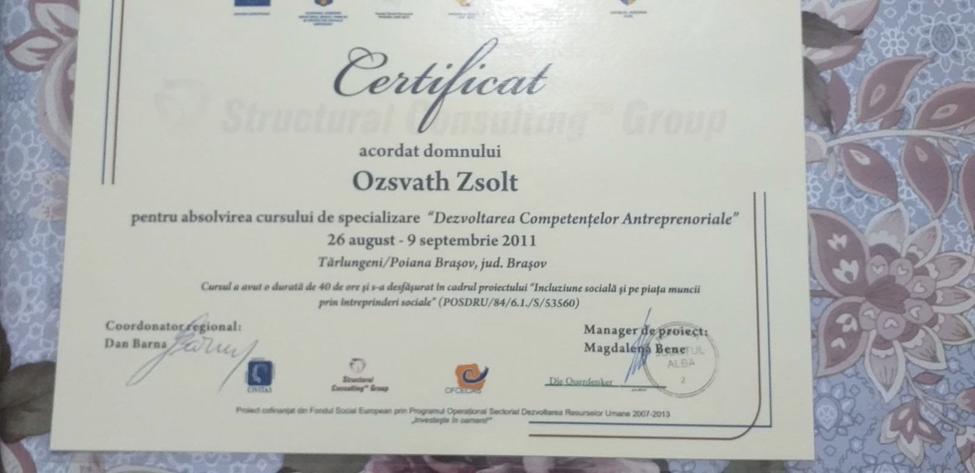 Certificatul lui Oszvath Zsolt semnat de Dan Barna