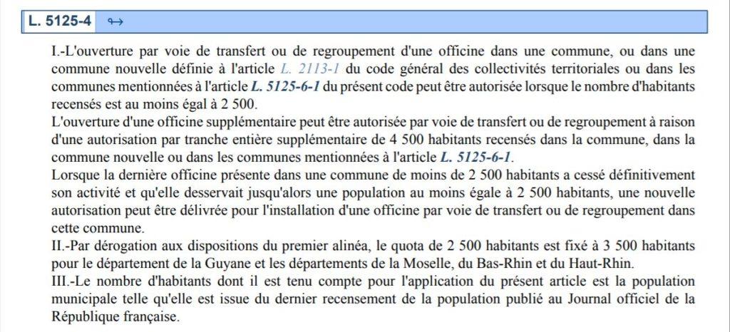 Pentru deschiderea unei prime farmacii într-o unitate administrativă din Franța, e necesar ca așezarea respectivă să aibă minimum 2.500 de locuitori. Pentru fiecare farmacie înființată suplimentar, e necesar ca populația așezării în cauză să crească cu alte 4.500 de persoane. FOTO: Codul Sănătății Publice din Franța.