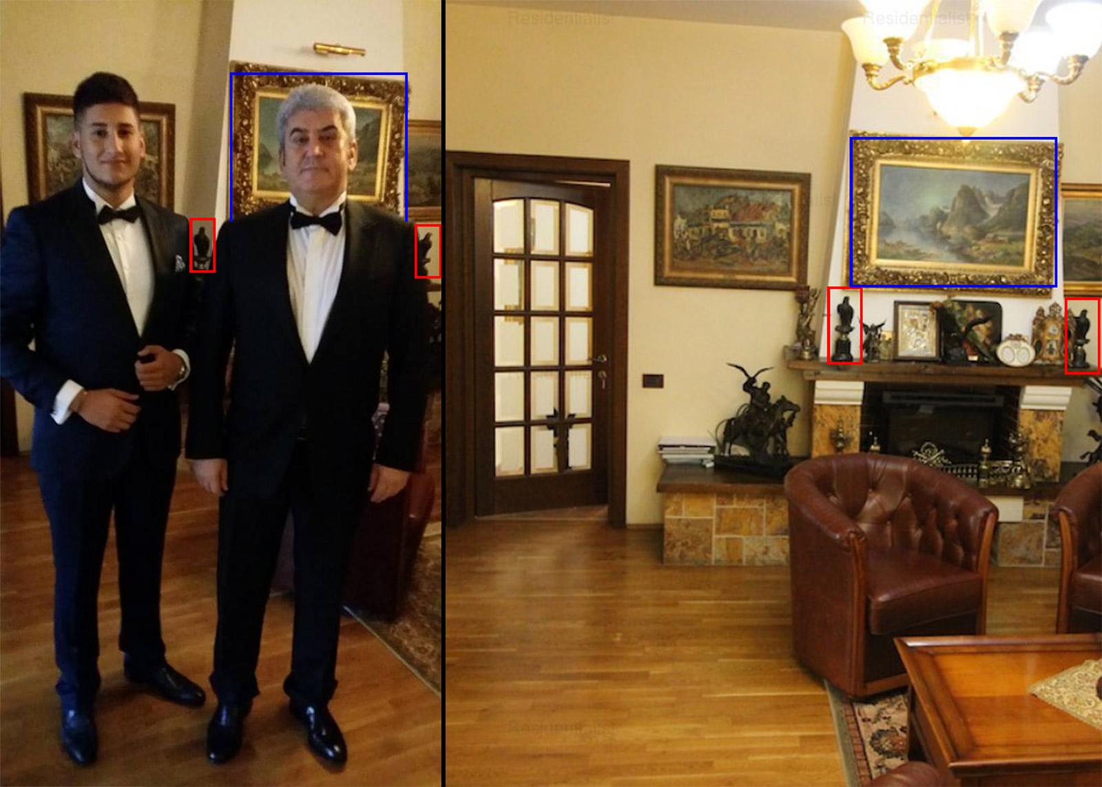 În imaginea din stânga îl regăsim pe Gabriel Oprea Junior alături de tatăl lui (imaginea se găsește pe mai multe platforme de știri). Fotografia din dreapta este una dintre imaginile postate pe site-urile de imobiliare pentru vânzarea vilei și se pot observa aceleași statuete și tablouri ca în prima.