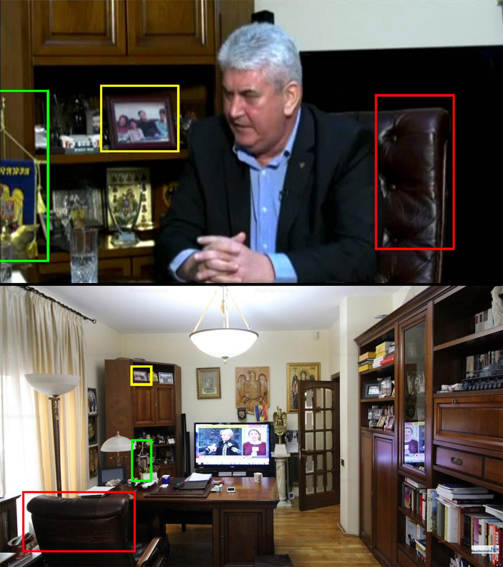 În imaginea de sus este Gabriel Oprea acordând un interviu jurnalistului Dan Andronic despre celebra sufragerie. Imaginea de pe site-ul de imobiliare conține aceeași fotografie de familie, același scaun și același fanion de birou.