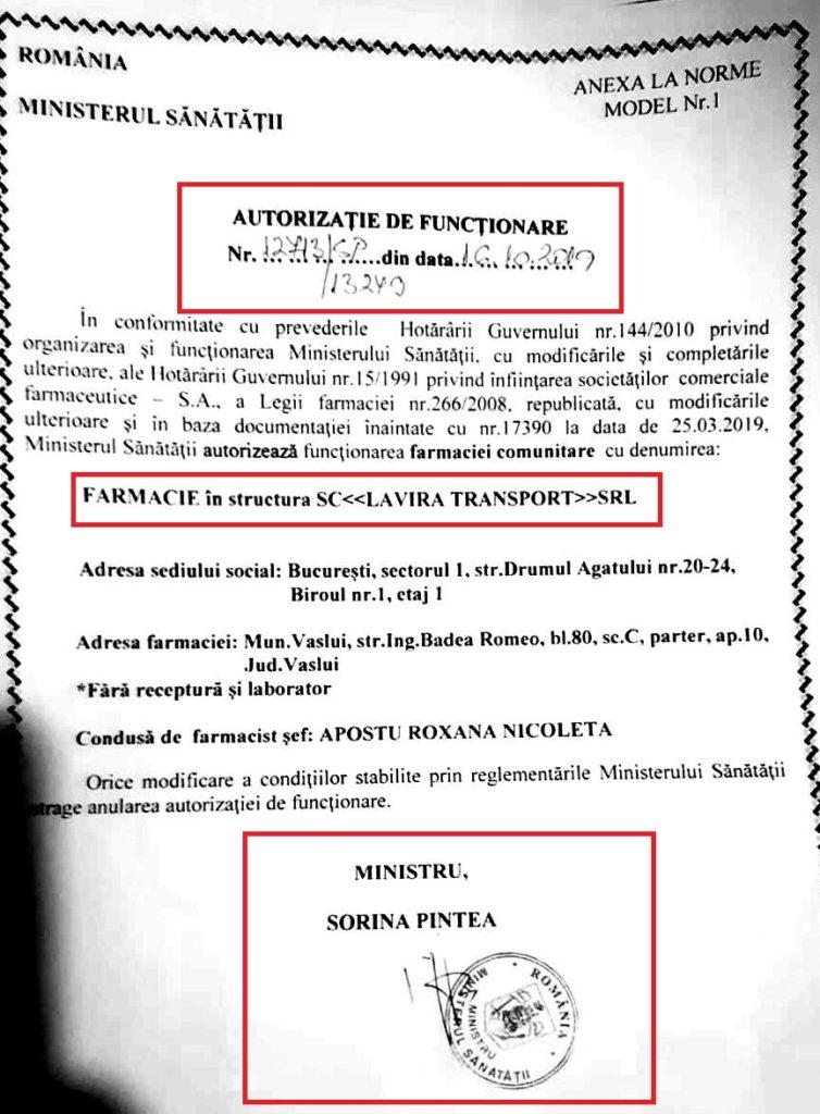 Una dintre autorizațiile emise de Sorina Pintea în beneficiul lanțului Catena poate fi văzută în imaginea de mai sus. Autorizația poartă data calendaristică de 16 octombrie 2019 și a fost eliberată pe numele SC Lavira Transport SRL - societate comercială prin care Catena operează o parte din uriașa rețea de farmacii pe care o are în România.