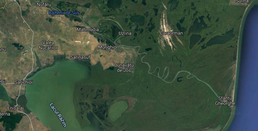 Gruparea a acționat în zona brațului Sfântul Gheorghe din Delta Dunării. Foto: Captură Google Maps